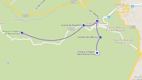 Notre itinéraire afin de découvrir les châteaux et les palais de Sintra