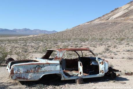 Une vieille carcasse de voiture, qui se fond bien dans le décor