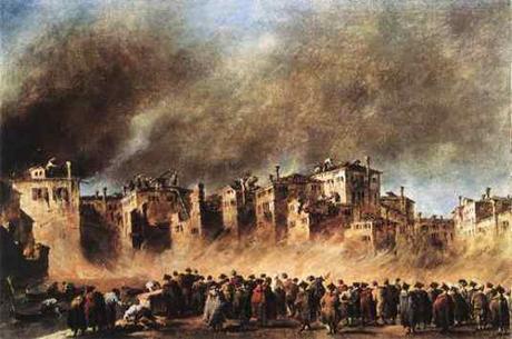 Francesco Guardi, Incendio nel deposito di olio a San Marcuola, Venezia 1789, Alte Pinakotek Monaco di Baviera..