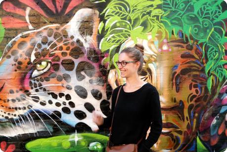 street art représentant un tigre dans le quartier de la Candelaria de Bogotá