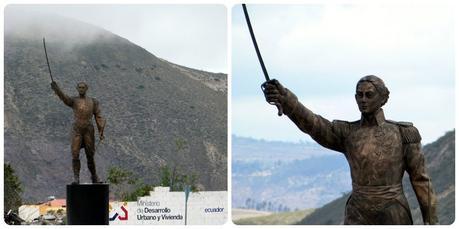 Statue sur le rond-point près de la Mitad del Mundo de Quito
