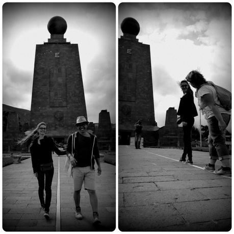 Nous sur la ligne de la Mitad del Mundo de Quito