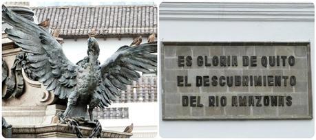 sculpture au pied du monumento de la independencia sur la Plaza Grande de Quito