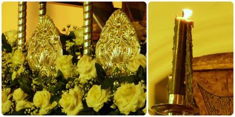 Zoom sur les fleurs et les bougies d'un paso du mardi saint durant le défilé de la Semana Santa de Popayán