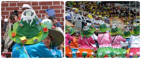 Groupes de femmes avec une représentation du volcan sur la tête au carnaval de Pasto