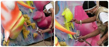 détails sur un char dans un atelier de fabrication sur le thème de la mer au carnaval de Pasto