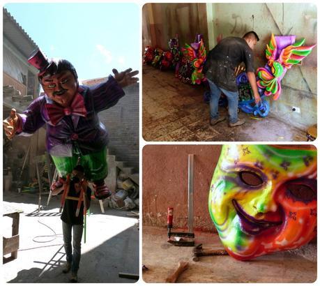 atelier de fabrication des personnages présentés au carnaval de Pasto