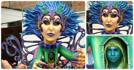 personnage de femme aux cheveux bleus au carnaval de Pasto