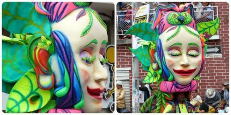 personnage de femme aux cils verts au carnaval de Pasto
