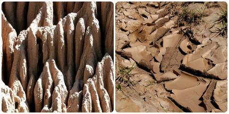 zoom sur le sable durci du désert de la tatacoita de Nemocón