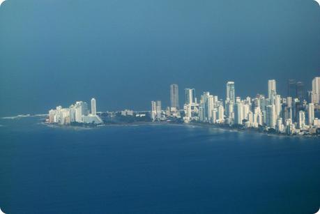 vue sur la presqu'île de Carthagène depuis la fenêtre de l'avion